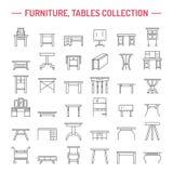 De vectorpictogrammen van de meubilairlijn, lijstsymbolen silhouet van verschillende lijst - diner, het schrijven, toilettafel Li Stock Foto's