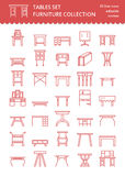 De vectorpictogrammen van de meubilairlijn, lijstsymbolen silhouet van verschillende lijst - diner, het schrijven, toilettafel Li Royalty-vrije Stock Afbeelding