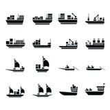 De vectorpictogrammen van de vervoerboot Stock Afbeeldingen