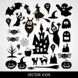 De Vectorpictogrammen van Halloween Stock Afbeeldingen