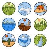 De vectorpictogrammen van het aardlandschap van bergen, oceaan en bos royalty-vrije illustratie