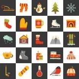 De vectorpictogrammen van het de winterbeeldverhaal Stock Afbeelding