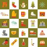 De vectorpictogrammen van het de winterbeeldverhaal Royalty-vrije Stock Afbeelding