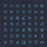 De vectorpictogrammen van het overzichtsontbijt Stock Afbeeldingen