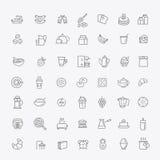 De vectorpictogrammen van het overzichtsontbijt Royalty-vrije Stock Fotografie