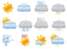 De VectorPictogrammen van het weer stock illustratie