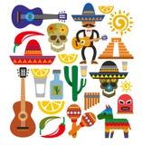 De vectorpictogrammen van Mexico Stock Foto's