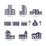 De vectorpictogrammen van Real Estate Royalty-vrije Stock Fotografie
