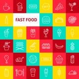 De vectorpictogrammen van de Snel Voedsellijn royalty-vrije stock foto's