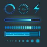 De vectorpictogrammen voor mobiele van het Webinternet van het toepassingenontwerp de ladingsinterface downloaden media knoop Stock Afbeelding