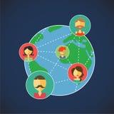 De vectorplaneet, online mededeling staat u toe om met vrienden rond de Wereld te communiceren Royalty-vrije Stock Foto's