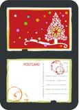De vectorprentbriefkaar van de kerstboom vector illustratie
