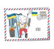 De vectorprentbriefkaar van de Oekraïne Kiev Stock Foto's