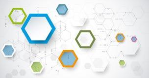 De vectorraad van de illustratiekring en 3d document zeshoekenachtergrond Stock Foto's