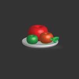De vectorreeks appelen met groen blad op een plaat, organische en groene levensstijl inspireerde illustratie, geplaatste aardelem Stock Afbeelding