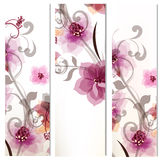 De vectorreeks collectieve bloemenidentiteitsmalplaatjes met hand trekt Royalty-vrije Stock Afbeelding