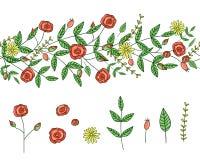 De vectorreeks het ontwerpelementen van de tuininstallatie en het patroon borstelen met gestileerde paardebloem De hand getrokken royalty-vrije illustratie