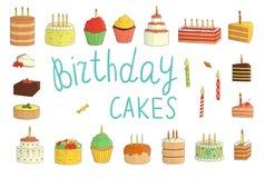 De vectorreeks kleurrijke cakes met kaarsen, ballons, stelt voor stock illustratie