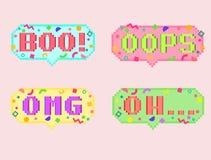 De vectorreeks met 8 bits van de pixelkunst van sticker Royalty-vrije Stock Afbeeldingen