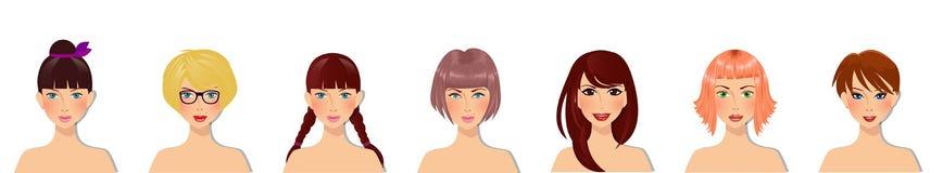 De vectorreeks mooie jonge meisjes met diverse haarstijl, ogen kleurt en gezichtstypes stock illustratie