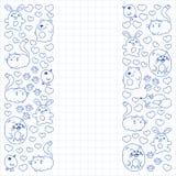 De vectorreeks mooie ronde pictogrammen in de vorm van wilde dieren voor kinderen en ontwerp, druk, kat, draagt, vos, vogel, haze vector illustratie