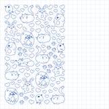 De vectorreeks mooie ronde pictogrammen in de vorm van wilde dieren voor kinderen en ontwerp, druk, kat, draagt, vos, vogel, haze royalty-vrije illustratie