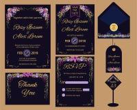De vectorreeks uitnodigingskaarten bloeit elementen Royalty-vrije Stock Foto's
