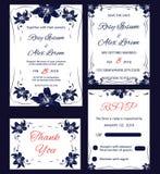 De vectorreeks uitnodigingskaarten bloeit elementen Stock Foto
