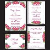 De vectorreeks uitnodigingskaarten bloeit elementen Royalty-vrije Stock Foto