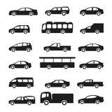 De vectorreeks van auto'spictogrammen Stock Fotografie