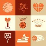 De vectorreeks van basketbalpictogrammen Stock Foto