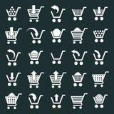 De vectorreeks van boodschappenwagentjepictogrammen, supermarkt simplistisch winkelen Royalty-vrije Stock Afbeeldingen
