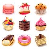 De vectorreeks van cakespictogrammen vector illustratie