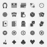 De vectorreeks van casinopictogrammen Royalty-vrije Stock Afbeelding