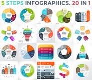 De vectorreeks van cirkelinfographics Bedrijfsdiagrammen, pijlengrafieken, startembleempresentaties en ideegrafieken gegevens stock illustratie