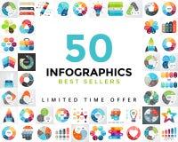 De vectorreeks van cirkelinfographics bestseller 50 Bedrijfsdiagrammen, pijlengrafieken, startembleempresentaties en idee stock illustratie