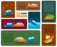 De vectorreeks van de autoneerstorting De autoneerstorting van verzekeringsgevallen Stock Foto's
