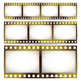 De Vectorreeks van de filmstrook Bioskoop van Gekrast de Strookspatie van het Fotokader die op Witte Achtergrond wordt geïsoleerd royalty-vrije illustratie