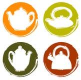 De vectorreeks van de het embleemtheepot van de grungekleur Stock Illustratie
