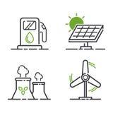 De vectorreeks van energiepictogrammen stock illustratie