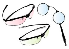 De vectorreeks van glazen en bril Royalty-vrije Stock Afbeeldingen