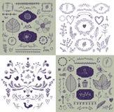 De vectorreeks van hand getrokken krabbel vertakt zich, kaders, grenzen, laurels Lineaire romantische huwelijksinzameling, grafis royalty-vrije illustratie