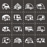 De vectorreeks van het aanhangwagenpictogram Stock Fotografie