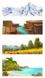 De vectorreeks van het aardlandschap stock illustratie