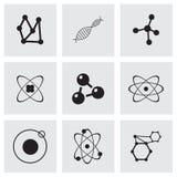 De vectorreeks van het atoompictogram Stock Fotografie