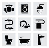 De vectorreeks van het badkamerspictogram royalty-vrije illustratie