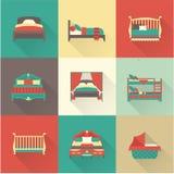 De vectorreeks van het bedpictogram Royalty-vrije Stock Afbeeldingen