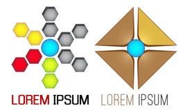 De vectorreeks van het embleemmalplaatje, geometrische vormen en vormen Stock Afbeelding