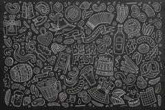 De vectorreeks van het krabbelbeeldverhaal de voorwerpen en symbolen van Oktoberfest vector illustratie