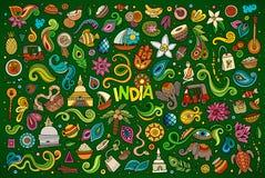 De vectorreeks van het krabbelbeeldverhaal Indische voorwerpen en symbolen royalty-vrije illustratie